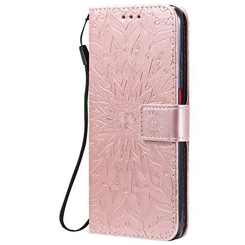 KKEIKO Hülle für Xiaomi Redmi K30, PU Leder Brieftasche Schutzhülle Klapphülle, Sun Blumen Design Stoßfest Handyhülle für Xiaomi Redmi K30 - Roségold