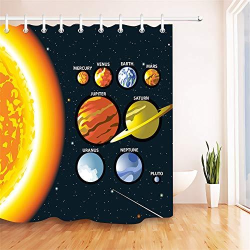 LGY Duschvorhang 180X180Cm. Digital Gedruckte Bilder Sind Lebendiger. Wasserdichter Stoff. Enthält 12 Haken. Haus Dekoration. Planeten des Sonnensystems. Venus, Jupiter.