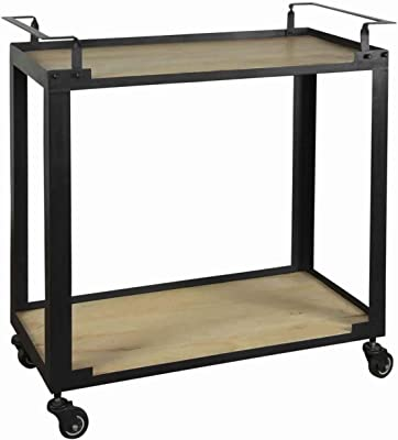Benjara Wood and Metal Bar Trolley with 1 Bottom Shelf and Casters, Brown and Black