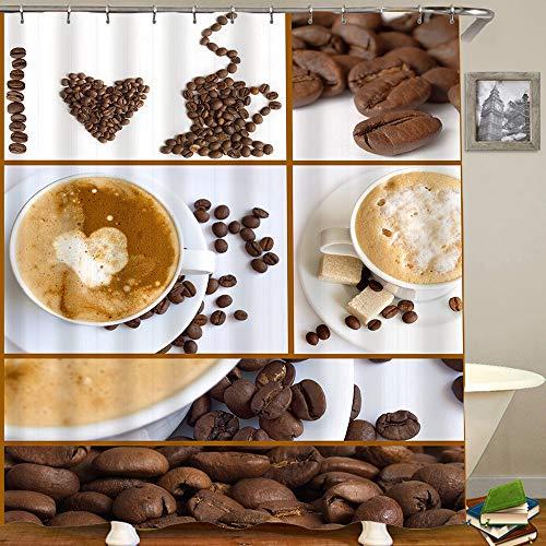 AXEDENRRT Polyester Duschvorhang Set mit 12 Kunststoffhaken,Kaffee Cappuccino Kakaobohnen Kaffeeliebhaber,Dekorative wasserdichte Badvorhänge 72x84 Zoll