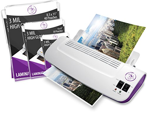 Purple Cows Hot and Cold 9' Laminator | Warms up in just 3 - 5 minutes with 50 pouches /...