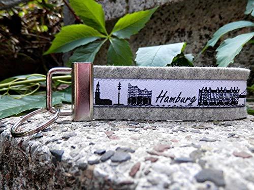 Schlüsselanhänger Schlüsselband Wollfilz hellgrau Neu Hamburg Skyline weiß schwarz