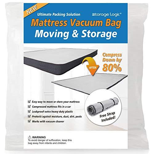 (Queen/Full/Full-XL) Foam Mattress Vacuum Bag for Moving/Storage-Compress Mattress by 80%, Vacuum Seal Mattress Bag, Leakproof & Sealable Vacuum Bag for Mattress, Mattress Storage Bag Includes Straps