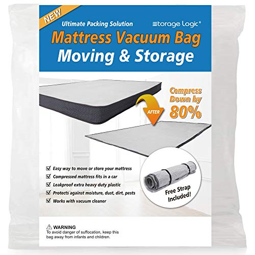 (King/California King)Foam Mattress Vacuum Bag for Moving/Storage-Compress Mattress by 80%, Vacuum Seal Mattress Bag, Leakproof & Sealable Vacuum Bag for Mattress, Mattress Storage Bag Includes Straps