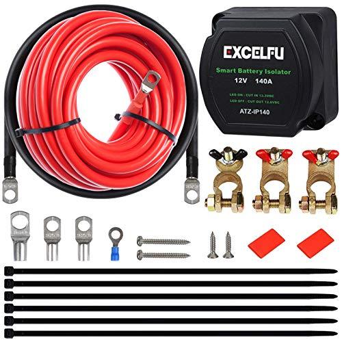 Dual Battery Isolator Kit, 12V 140 Amp Voltage Sensitive Relay VSR Dual...