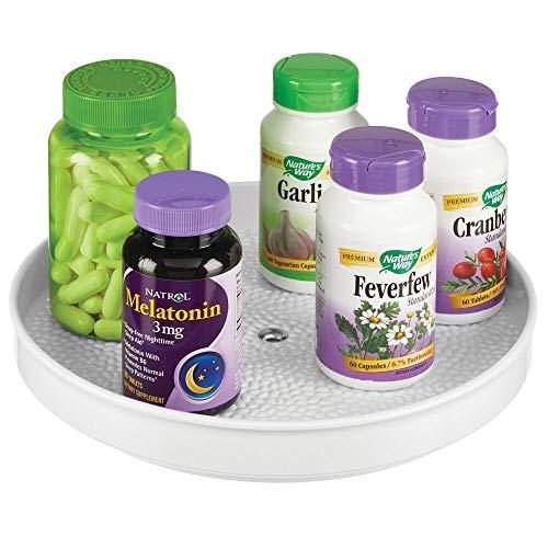 mDesign - Draaiplateau - carrousel/bergruimte - voor lotions, make-up, cosmetica en medicijnen - voor badkamer en keuken - stijlvol/rond/BPA-vrij/plastic en roestvrij staal - wit
