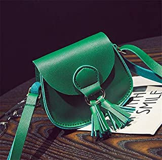 Fashion Single-Shoulder Bags 2 PCS Children Cute Tassel Mini-Straddle Bag(Red) (Color : Green)