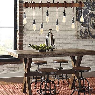VONLUCE Rustic Wood Beam Chandelier Lighting Adjustable, 8 Light Farmhouse Light Fixture Ceiling, Industrial Reclaimed Wood Pendant Lights for Kitchen Island, Bar, Living Room, Dining Room