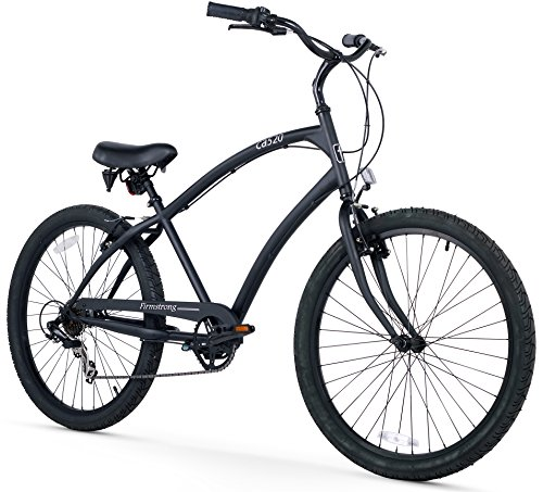 Firmstrong Men's CA-520 Alloy 3-Speed Beach Cruiser Bicycle, 26-Inch, Matte Black