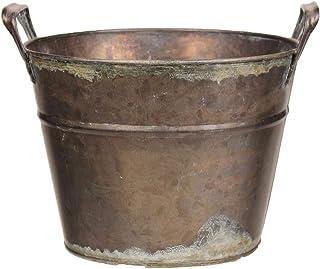"Vintage Decorative Tin Flower Pot - 7"" Diameter, 8"" Tall, Tarnished Brass, Handles, Plant Pot, Home Decor, Garden Decor, G..."