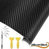AOBETAK Vinilo Carbono de Fibra con Raspadores de Plástico,300 X 30 cm Adhesivo Pegatina de Vinilos para Coche,Motocicletas,Bricolaje,Interior/Exterior,Autoadhesivo Texturizado 3D,Negro Mate
