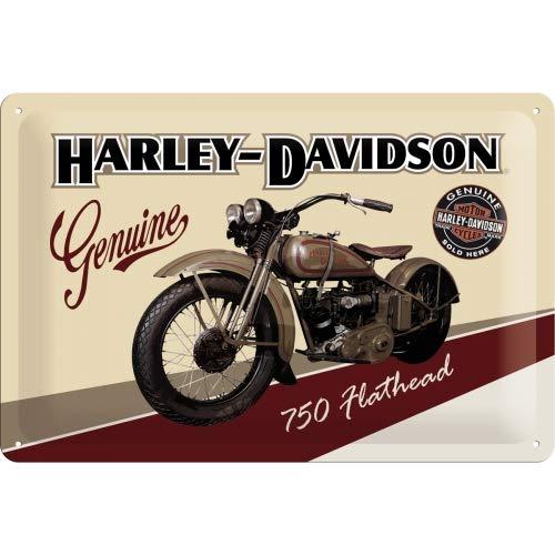 Nostalgic-Art Harley-Davidson – Flathead – Geschenk-Idee für Motorrad-Fans, Retro Blechschild, aus Metall, Vintage-Design zur Dekoration, 20 x 30 cm