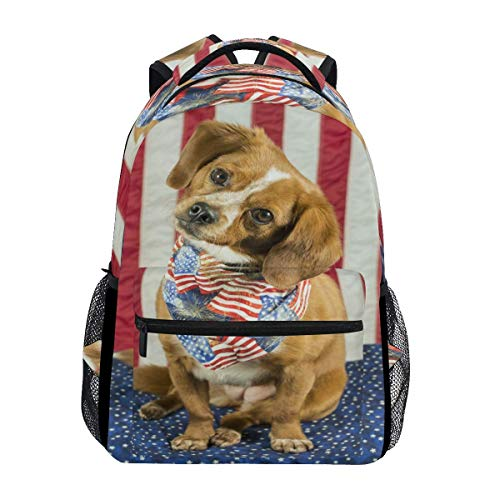Overlooked Shop Hundemuster Rucksäcke für Mädchen Jungen Kinder Frauen Männer Patriotischer Beagle Hund Feuerwerk Amerikanische Flagge Schulbuchtasche Casual Travel Camping Daypack