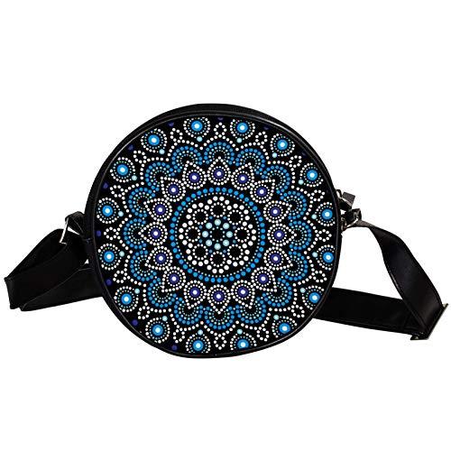 Bandolera redonda pequeña bolso de mano para mujer, bolso de hombro de moda, bolso de mensajero de lona, bolsa de cintura, accesorios para mujer, mandala india psicodélico, color negro henna