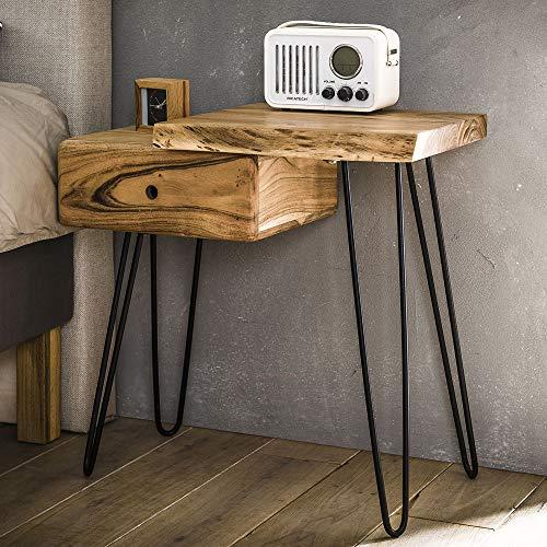 Nachttisch Baumstamm Massivholz Akazie Nachttischchen rechts Nachtschrank