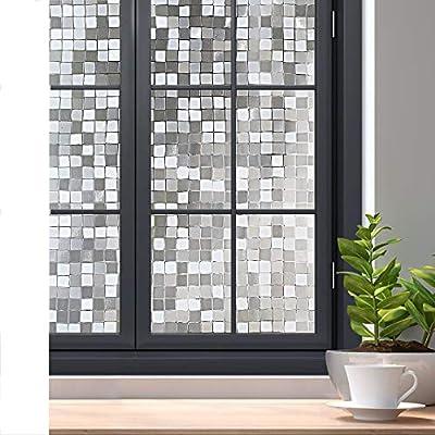 rabbitgoo 3D Decorative Window Film Privacy Winodw Cling No Glue Static Door Film for Sun Blocking, Anti-UV Window Sticker, for Home Office, Mosaic Pattern, 35.4 x 78.7 inches
