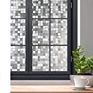 "rabbitgoo Privacy Window Film, 3D Decorative Window Cling, Static Cling Glass Film, Removable Winodw Tint Film, Door Window Covering, UV Blocking Glue Free Non Adhesive, Mosaic Pattern, 23.6"" x 78.7"""