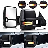 HF Autoparts Swichback Towing-Mirrors Compatible with 2003-2007 Chevy Towing Mirrors, Silverado Side Mirror, GMC Sierra Tow Mirrors, Pair with Power Heated Turn Signal Lights…