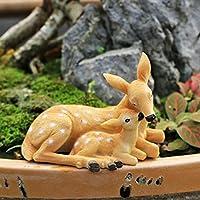 """ガーデン彫刻シカモデル、高さ 2.7""""×長さ 3.9""""×幅 2.3"""" レジン Doe & 立ち鹿の像 動物彫刻 ガーデン アート装飾 庭の飾り 芝生 ガーデン 屋外パティオ デコレーション 置物,C"""