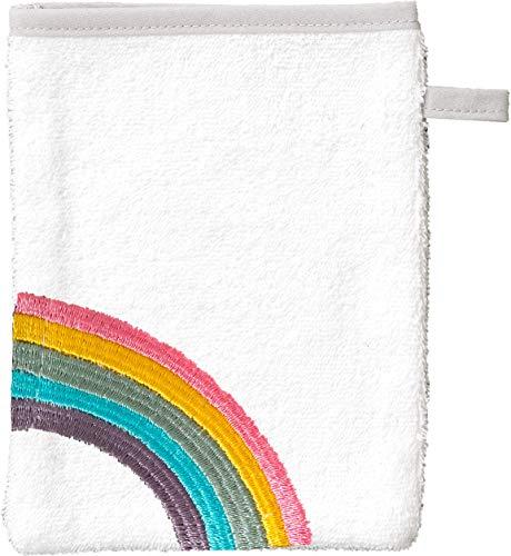 Smithy Waschlappen aus 100% Baumwolle - saugstarker und weicher Öko-Tex-100 Waschhandschuh für Kinder in weiß mit Regenbogen