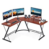 Coleshome L Shaped Desk, 51' Home Office Desk with Shelf, Gaming Computer Desk with Monitor Stand, PC Table Workstation with Shelf, Teak
