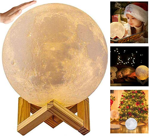 Moon Lamp, Xndryan 15CM 3D Printed Full Moon Lamp Moon Night Light with Remote Control, 16 Colors & 4 Levels Brightness LED Moon Lamp Moon Lights for Bedroom, Ideal Gifts for Her, Kids