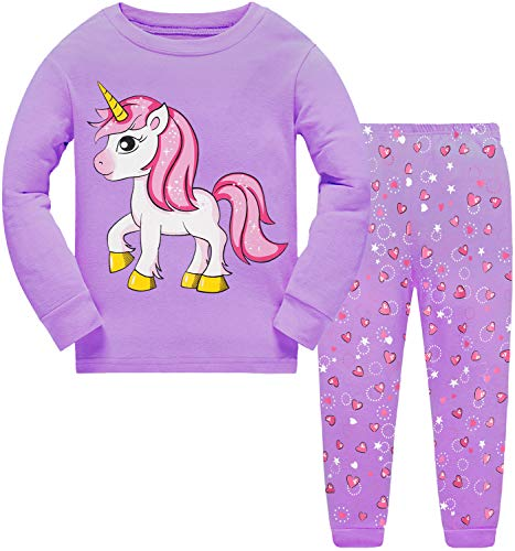 Little Hand Girls Pyjamas Unicorn Cat Kids Pjs Toddler Clothes Set 100 Cotton Sleepwear Long Sleeve Nightwear Outfits 3 4 Years