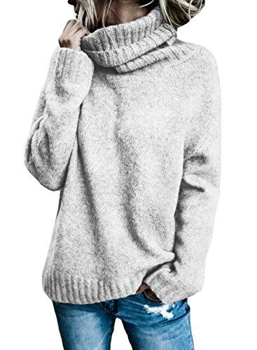 Aleumdr Mujer Jersey de Punto Casual de Invierno Pulóver Cuello Alto para Mujer Gris Size S