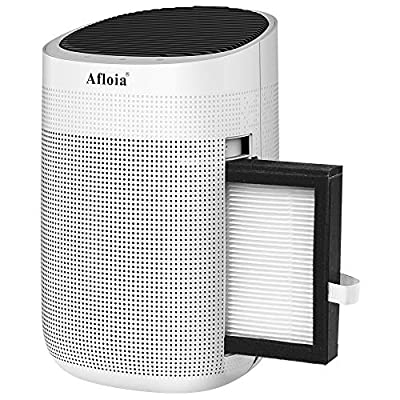 Afloia Air purifier with Dehumidifier, 35 OZ(1000ML) Small Dehumidifiers,H13 True HEPA Filter for Home/Bedroom /Bathroom/Basements/Garage, Mini Dehumidifier for Space Up to 250 sq ft-Super Quiet White by Afloia