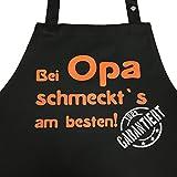 Grillkönig Bei Opa schmeckt`s am besten! Garantiert! - Kochschürze, Latzschürze mit verstellbarem Nackenband und Seitentasche - Die Geschenkidee! … (Schwarz)