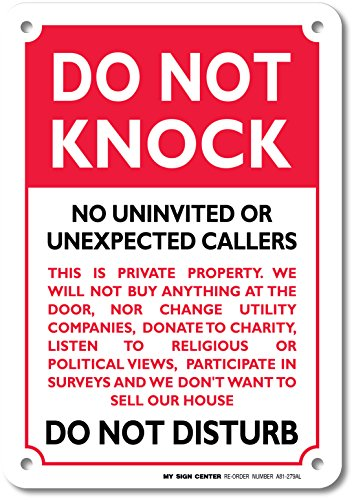 """Do Not Knock Do Not Disturb Sign - No Soliciting - 10""""x7"""" - .040 Rust Free Aluminum - Made in USA - UV Protected and Weatherproof - A81-279AL"""