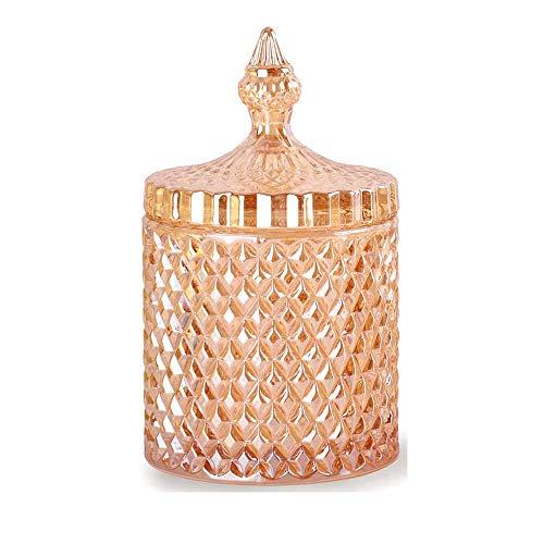 CLOVERHOME Home Contenedor de almacenamiento de vidrio decorativo para baño Contador de vanidad Organizador para sales de baño/hisopos/rondas esponjas de maquillaje palillo joyería (ámbar, 10 oz)