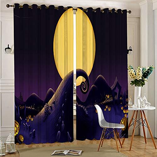 STTYE The Nightmare Before Christmas - Cortina opaca aislante térmico con 2 paneles para tratamiento de ventanas, 110 x 215 cm x 2 piezas