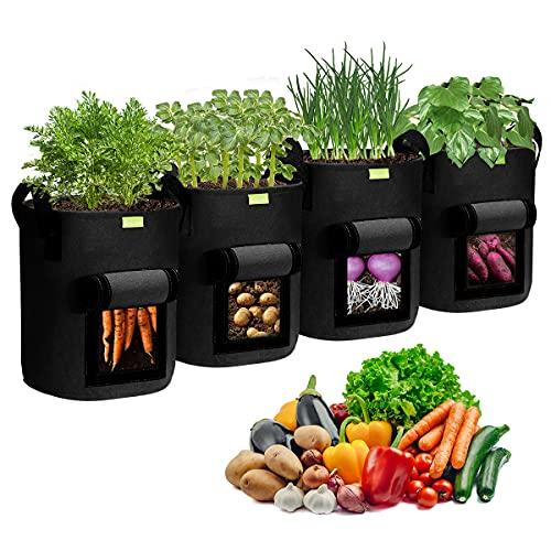 Pflanzen Tasche, Simboom 4 Stück Kartoffel Pflanzsack aus Vliesstoff Pflanzbeutel mit Griffen und Sichtfenster Grow Bag für Tomaten, Blumen, Karotte, Schwarz - 10 Gallonen (40 L)