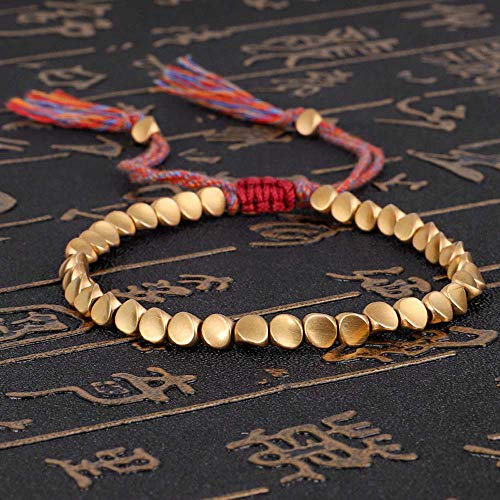 HZL Tibetan BraceletTibetan Buddhist Braided Cotton Copper Beads,Lucky Rope Bracelet & Bangles For Women Men Thread Bracelets