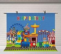Xサーカスカーニバル写真の背景赤いサーカステント遊び場カーニバルの背景写真撮影キッズ誕生日パーティーケーキテーブルバナースタジオ小道具7x5ftBJDSFU135