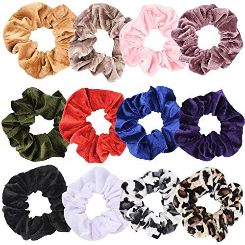 12 PCS Large Size Premium Velvet Hair Scrunchies,Great Gift for for vico girl and teenage girls (Large Size)