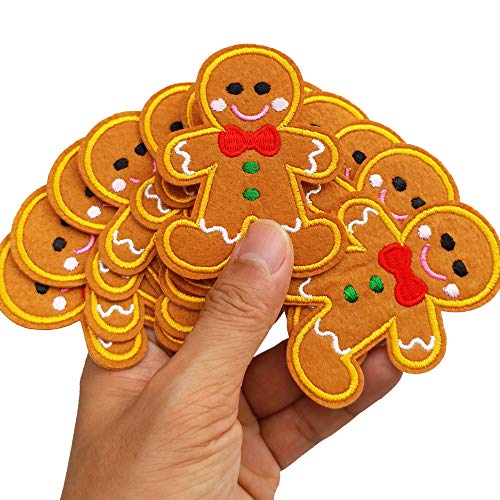 """2.2""""x2.9"""" 12pcs X'Mas Gingerbread Man Iron On Sew On Embroidered Patches Appliques Machine Embroidery Needlecraft Sewing Kids Girls Boys DIY"""