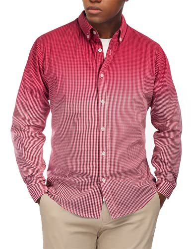 PaulJones Camisa a cuadros para hombre, cómoda camisa de negocios, informal, manga larga granate S