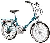 """Cicli Cinzia Bicicletta 20"""" Pieghevole Firenze 6/V Revo Shift V-Brake Alluminio, Azzurro/Bianco, Unisex – Adulto"""