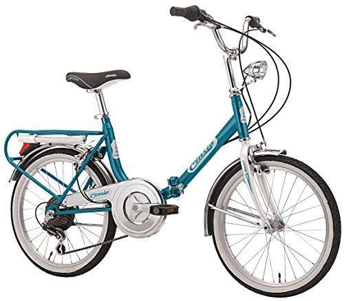 Cicli Cinzia Bicicletta 20' Pieghevole Firenze 6/V Revo Shift V-Brake Alluminio, Azzurro/Bianco, Unisex – Adulto