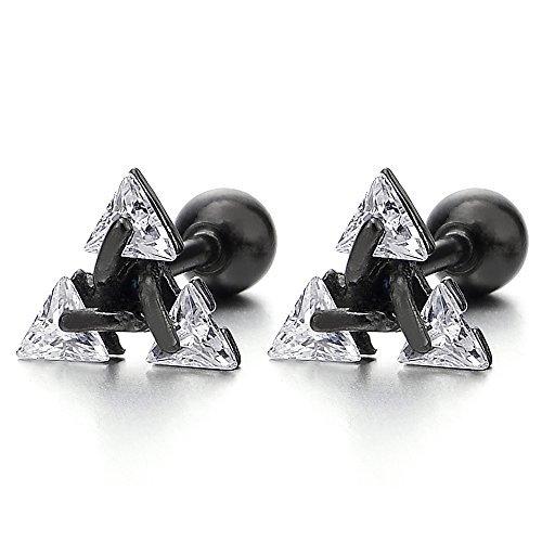 Black Stainless Steel Triangle Cubic Zirconia Stud Earrings for Men Women,...