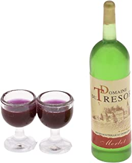 Towashine Red Wine Set Bottle and Wine Goblet Cups Miniature Dollhouse Kitchen Accessories Food Supply