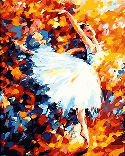 QTQZ Pintura por números, pintura al óleo de bricolaje vintage bailarines de ballet impresión lienzo arte de la pared decoración del hogar sin marco