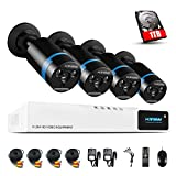 H.View 1080P CCTV Camera Systems with Hard Drive(1TB) 4 CH Security Camera System