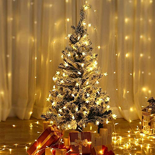 HDNICE 17.6 Ft 40 Star LED Lights Battery Operated Warm White Star String Lights for Wedding Party Bedroom Patio Curtain Decorations