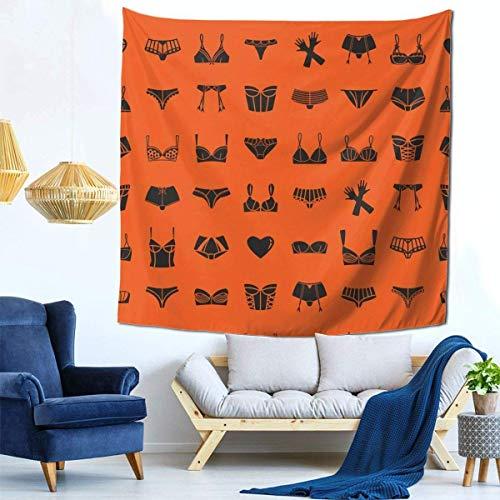 Ha99y Tapisserien Mode Wandbehang Gemütliche Innen Tapisserien Home Decorate Decke 59 X 59 Zoll Verschiedene BHS Unterwäsche Handschuhe Orange