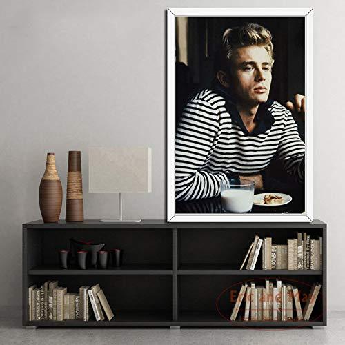 Flduod James Dean Movie Star Gedruckte Malerei Leinwand wasserdichte Leinwand Poster Wohnzimmer Wandkunst 50X70Cm / Rahmenlos