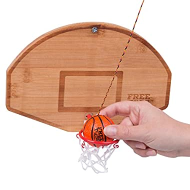 Tiki Toss Basketball And Hoop Swing Game Free Toss- Be The First To Swing A Basket 100% Bamboo Party Game (All Parts Included)