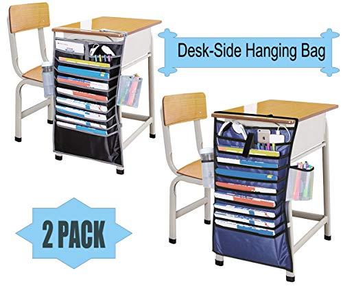 2 paquetes de bolsas para colgar en el escritorio, 12 ranuras, Oxford, resistente, organizador de bolsillo para estudiantes, bolsa de almacenamiento, organizador de papel para clasificar escalonería